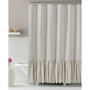 linen blend shower curtain with ruffle 72x84 by