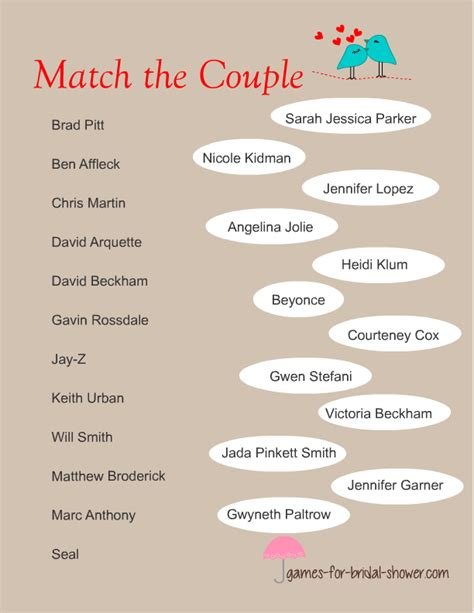Printable Games For Married Couples | free printable match the famous couples game