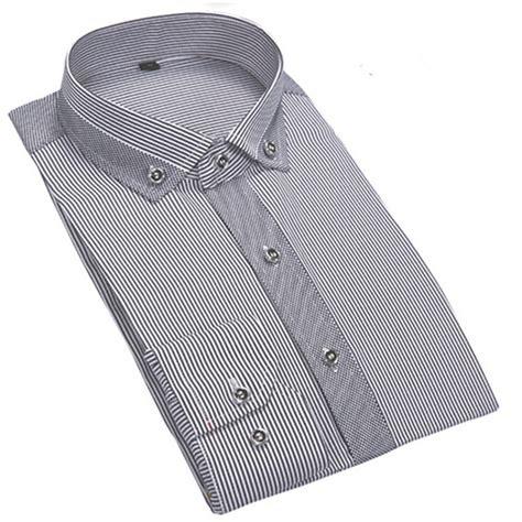bergaris bisnis santai pria lengan panjang merek baju kemeja marcas camisa masculina sosial