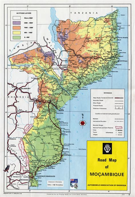 political map of mozambique large detailed road and physical map of mozambique