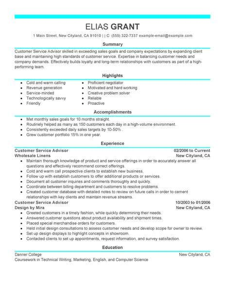 Sles Resumes For Customer Service by Best Sales Customer Service Advisor Resume Exle Livecareer