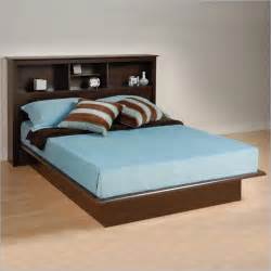 Platform Bed With Bookcase Headboard Espresso Double Full Size Platform Bed With Bookcase Headboard