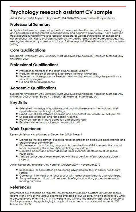 Research Assistant Resume Skills by Psychology Research Assistant Cv Sle Myperfectcv