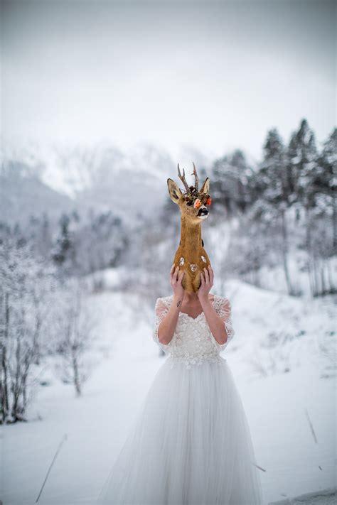 snowy winter wedding inspiration shoot  norway