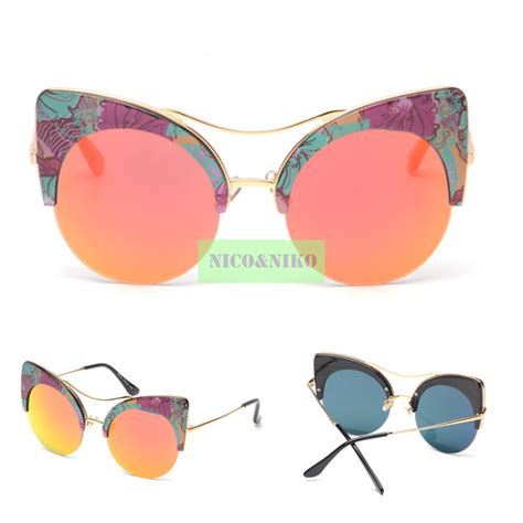 10 Fashionable Sunglasses For This Summer by 6 Colors 2015 New Printed Big Frame Coating Eyewear