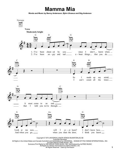 tutorial piano mamma mia mamma mia sheet music by abba ukulele 89182