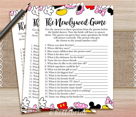 Newlywed Bridal Shower The Newlywed Guess What The Groom Said Printable