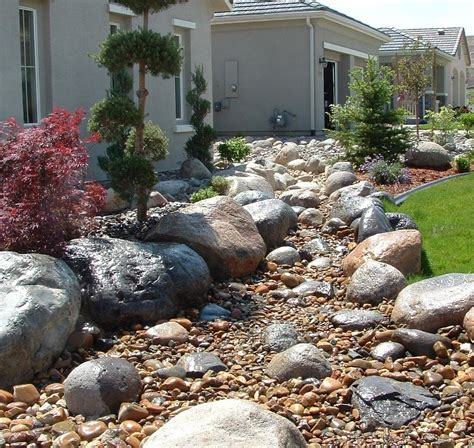 Create Dry Riverbed Landscape Ideas Bistrodre Porch And Creating A Rock Garden