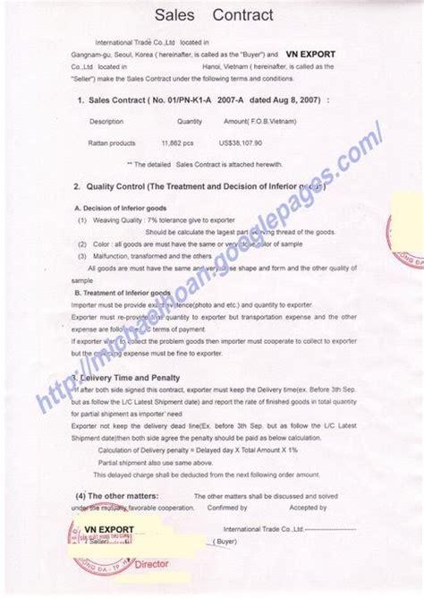 sale contract of export handicrafts products vietnam
