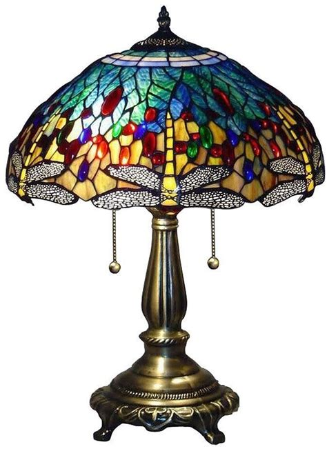 Stained Glass Desk Ls blue dragonfly 25 in bronze table l desk