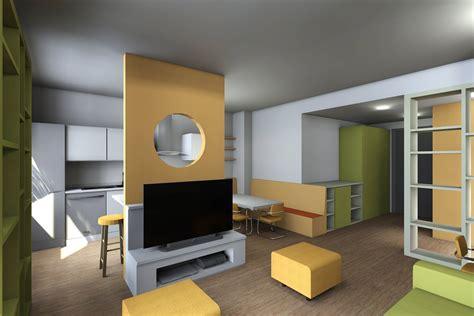 soggiorno con cucina soggiorno con cucina a vista pianta e prospetto in 3d
