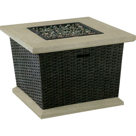 Lowes Firepit Shop Allen Roth Somersville 34 5 In W 50 000 Btu Brown Wicker Design Composite Propane Gas