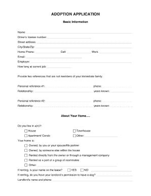Dog Adoption Form Fill Online Printable Fillable Blank Pdffiller Adoption Application Template