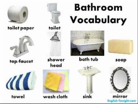 bathroom words in english learn english bathroom vocabulary youtube