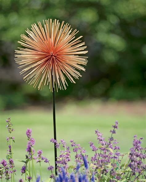 large metal garden flowers large allium sunburst stake metal garden flowers