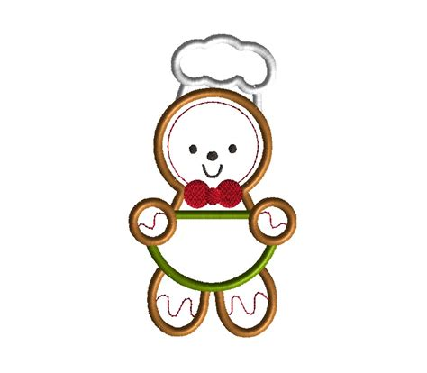 embroidery machine applique gingerbread chef applique machine embroidery design