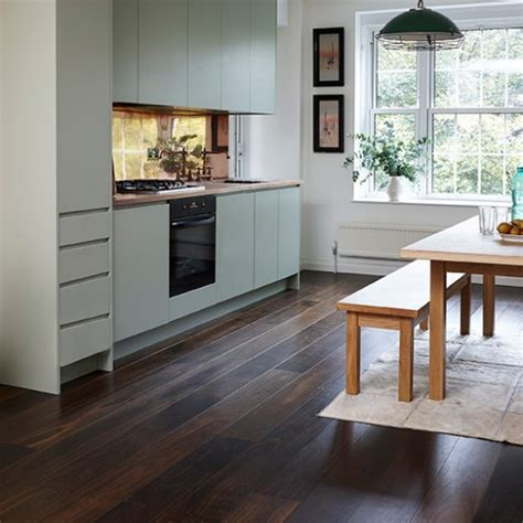 Junckers Dark Wood Floor With Pale Green Kitchen Wood Wood Floors In Kitchen