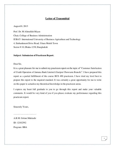 Letter Of Credit Operation Resume Customer Satisfaction Of Credit Operation Of Jamuna Bank Ltd Cover Letter