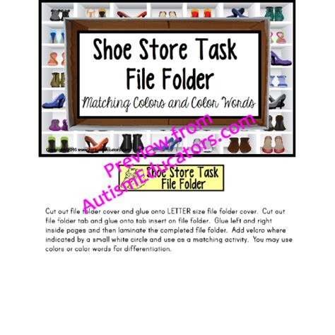 skills special education work task bin shoe store with data