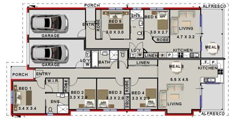 Split Floor Plan House Plans six bedroom dual key house plan australian dual key home