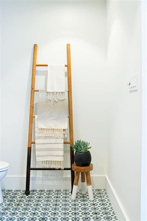 stylish bathroom storage stylish bathroom features ladder towel storage hgtv