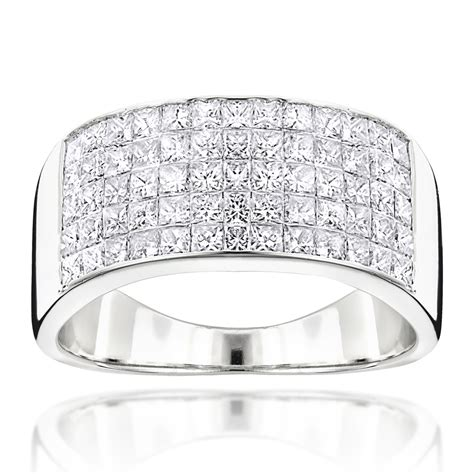 Wedding Bands With Princess Cut Diamonds by Mens Wide Wedding Band With Princess Cut Diamonds 2 11ct