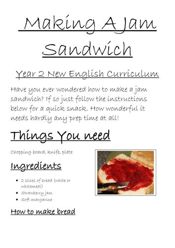 how to crate a 2 year writing jam sandwich and circuit year 2 new curriculum by