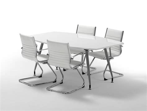 White Gloss Meeting Table Dynamo Boardroom Table In High Gloss 4 To 6 Seater In White