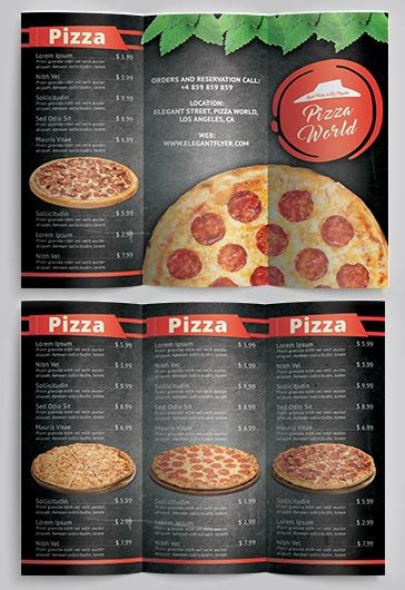 Resume Design Examples by Pizza Menu Premium Tri Fold Psd Brochure Template By