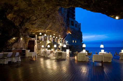 Cave Restaurant Side Of A Cliff Italy | magnificent restaurant built into a cave in a cliff on the