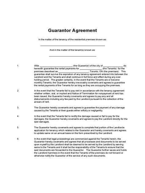 Rent Arrears Letter To Guarantor Guarantor Agreement Form 16 Free Templates In Pdf Word Excel