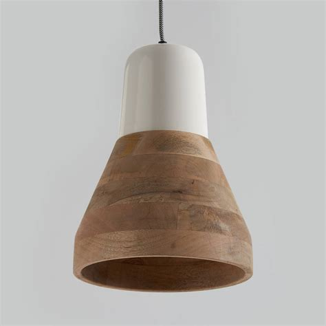 Wood Pendant Light Reykjav 237 K White And Wood Pendant Light By Horsfall