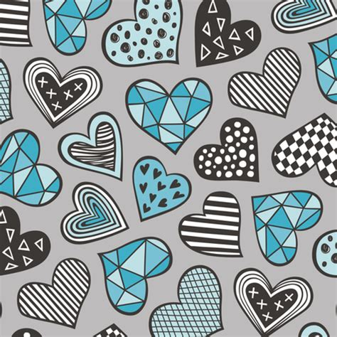 lgeometric patterned hearts valentines day doodle blue on