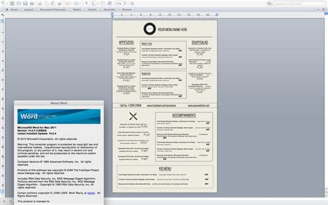 word document menu template my best templates