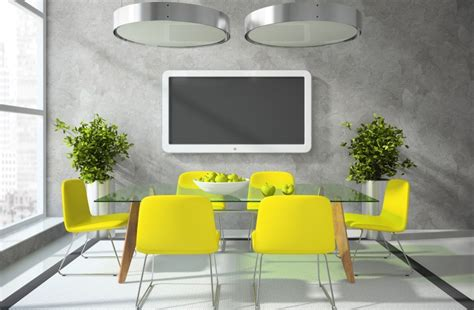 tv in dining room grey dining room with tv and yellow chairs download 3d house
