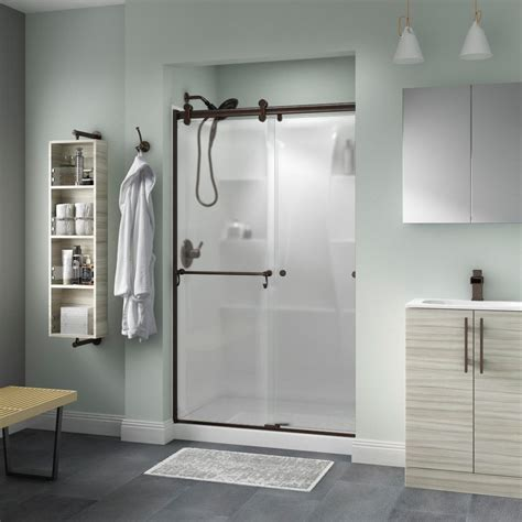 Delta Shower Door Delta Portman 48 In X 71 In Semi Frameless Contemporary Sliding Shower Door In Bronze With