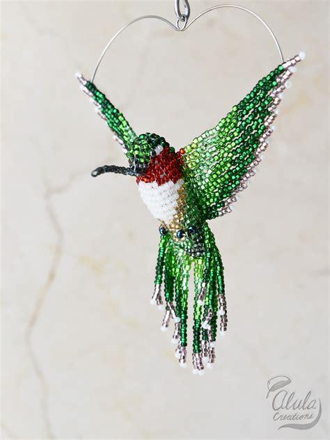 beaded hummingbird 3d beaded bird suncatcher bird ornament beaded hummingbird