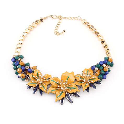 flower design gold necklace 2016 new arrival design fashion brand floral crystal