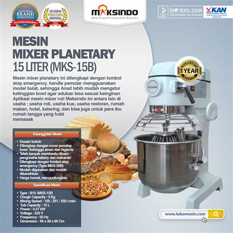 Mixer Yamaha Di Malang jual mesin mixer planetary 15 liter mks 15b di malang