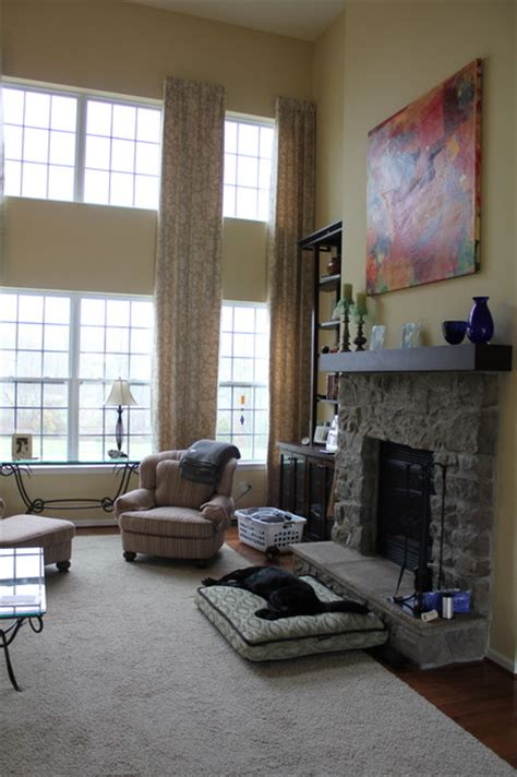 Window Treatment Ideas For Kitchens 2 story family room drapes eclectic curtains