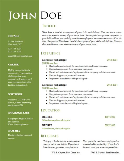 Resume Format Doc File Free Free Creative Resume Cv Template 547 To 553 Free Cv Template Dot Org