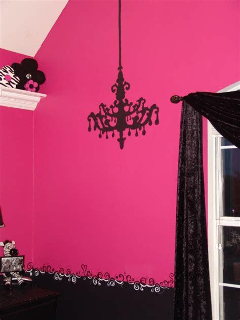 Black Chandelier Wall Decal Pink And Black Zebra Bedroom
