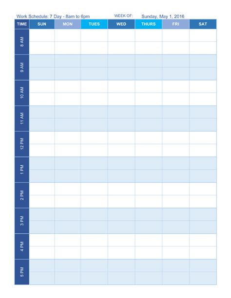 free work schedule templates for word and excel