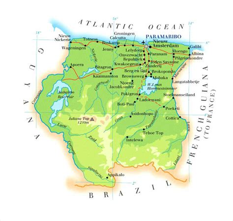 where is suriname on a map detailed physical map of suriname suriname detailed
