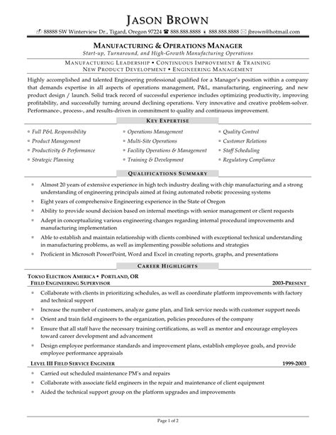 Production Supervisor Resume Sle by Plant Manager Resume Cover Letter