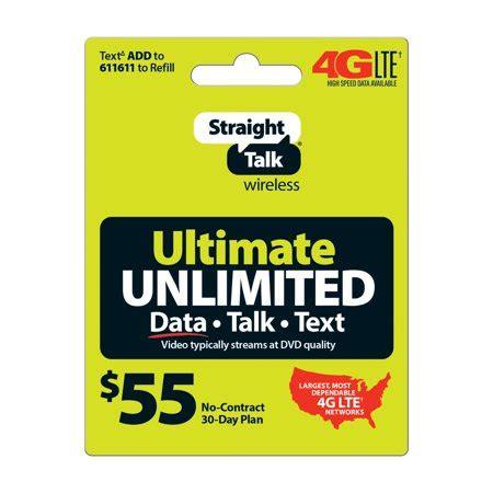 straight talk $55 ultimate unlimited 30 day plan walmart.com