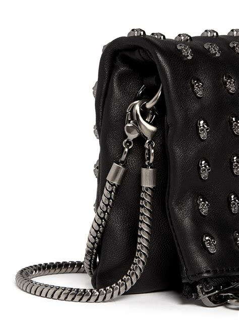 Chic Wylde Bag Of Tricks by Lyst Wylde Skull Stud Flap Front Leather Bag In Black
