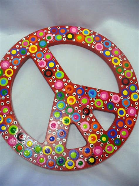 peace sign decorations for bedrooms hand painted wooden polka dotted peace sign children s