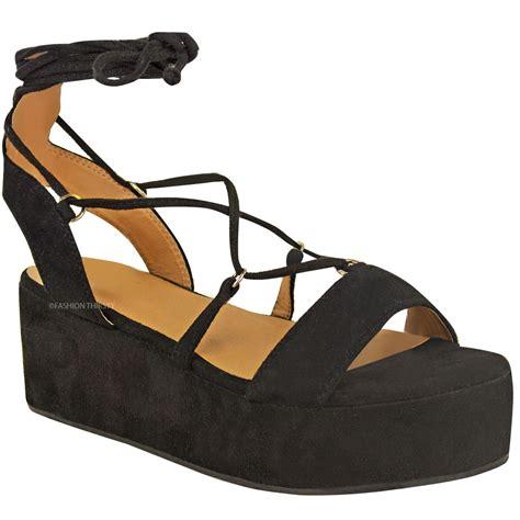 platforms sandals new womens low wedge platform sandals strappy