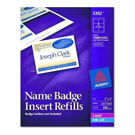 Avery Dennison Name Badge Insert Refill F 5384 Nme Tag 300 Box Of 300 Model 5392 Avery 5384 Name Badge Template